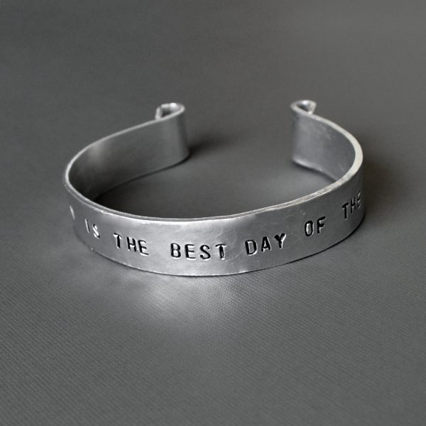 personalized wide hammered aluminum cuff bracelet