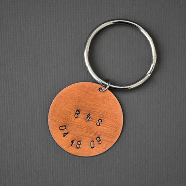 personalized copper disc key chain