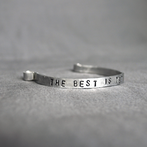 personalized narrow cuff bracelet