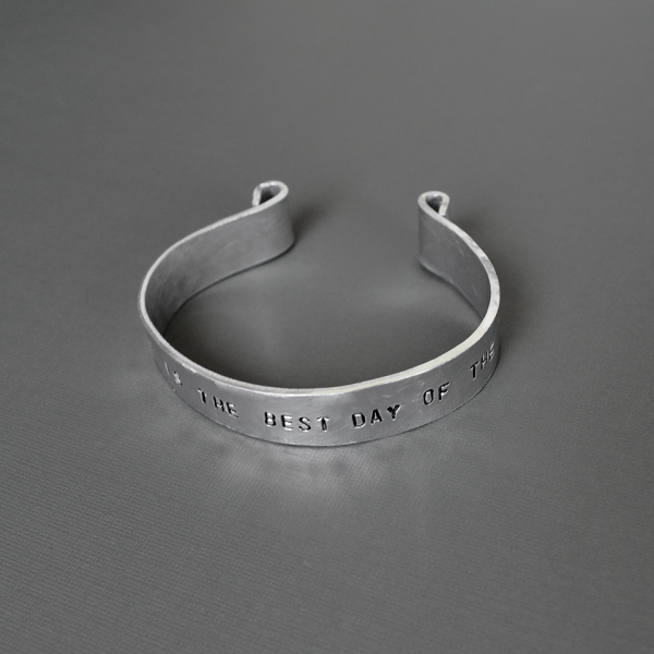 personalized wide hammered aluminum cuff bracelet top view