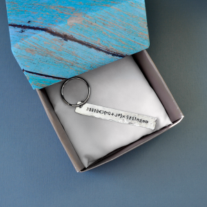 personalized aluminum bar key chain in origami box
