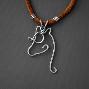 handcrafted wire horse pendant on leather necklace