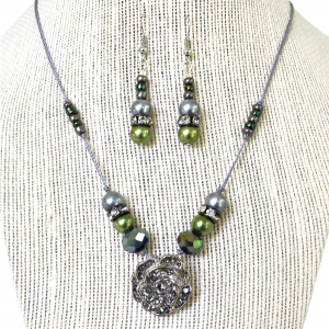 green and silver beaded rose necklace and earrings