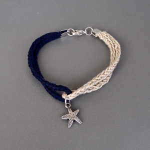 knitted bracelet with starfish charm