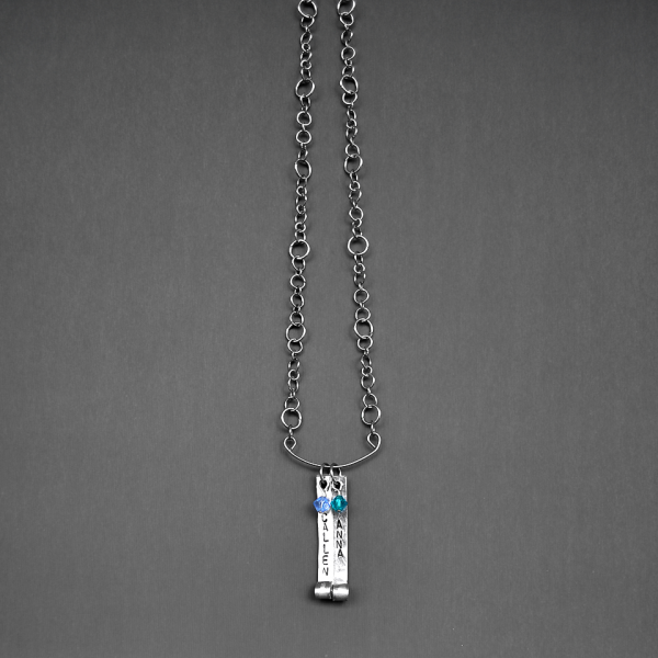 personalized vertical bar necklace with Swarovski crystal birthstones