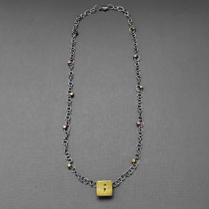pierced square semicolon necklace