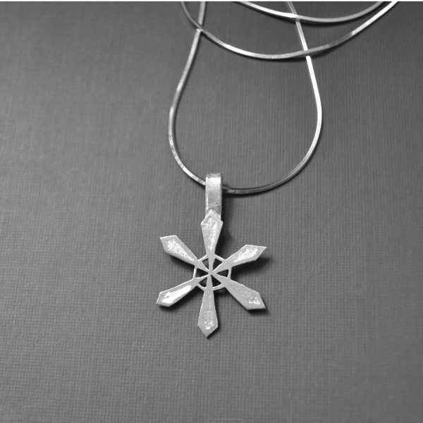 sterling snowflake necklace detail