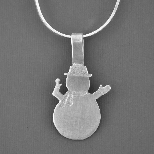 sterling snowman necklace detail
