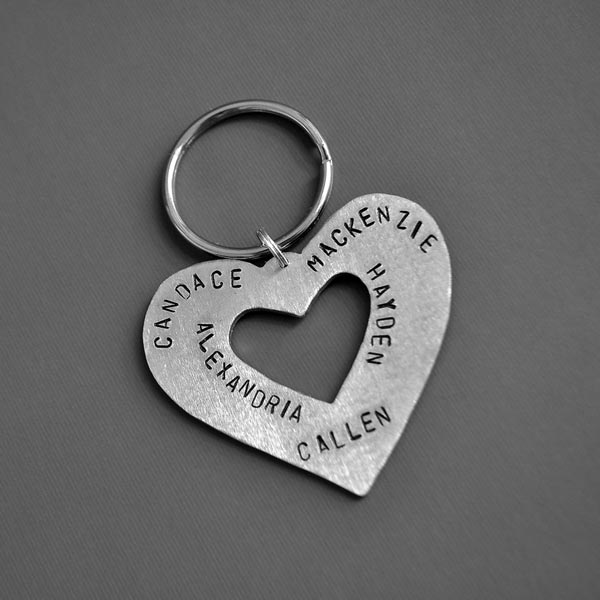 personalized heart key chain