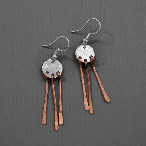 Mixed Metal 3-Bar Dangle Earrings