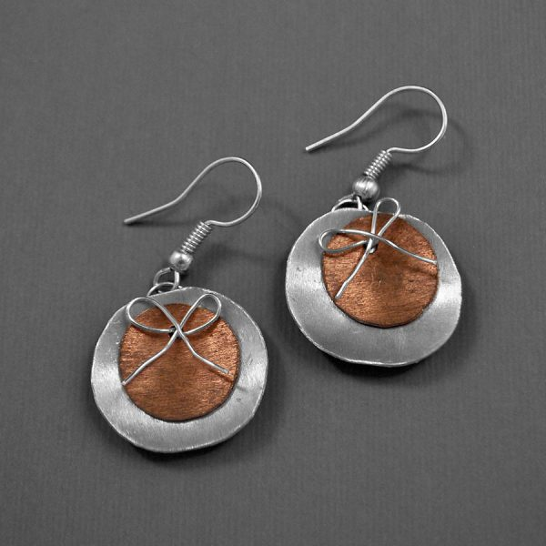 Mixed Metal Disc Bow Earrings