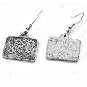 Celtic-inspired double heart knot earrings with engraving
