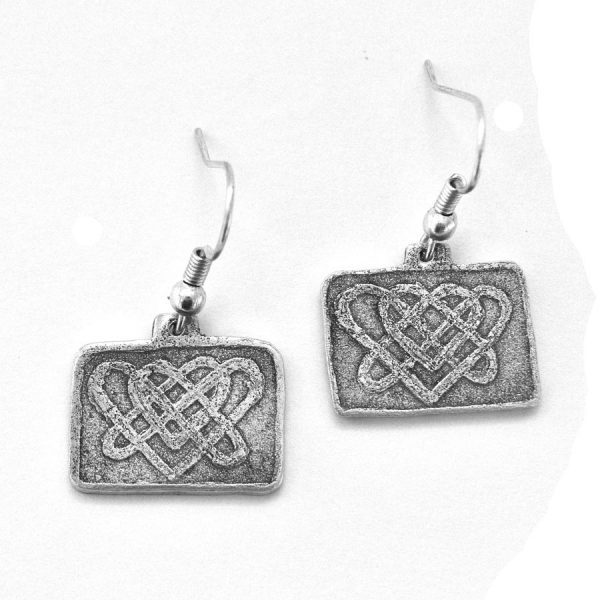Celtic-inspired double heart knot earrings
