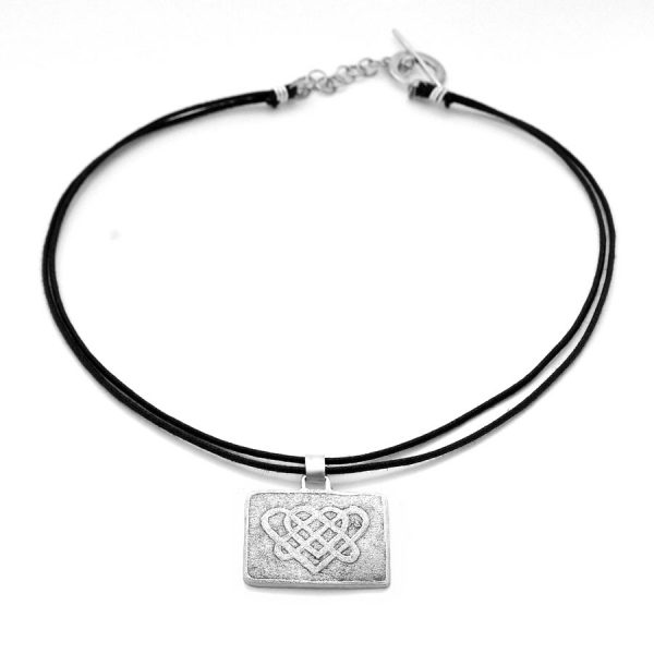 Celtic-inspired double heart knot necklace