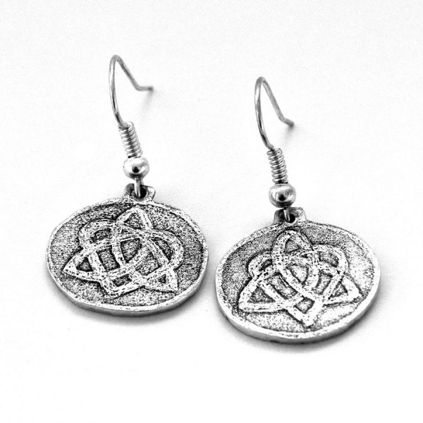 Celtic triquetra heart knot earrings
